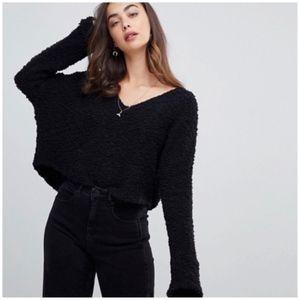 NWT Free People Cropped Popcorn Sweater Black M